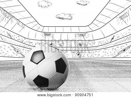 soccer or football ball on drawn stadium