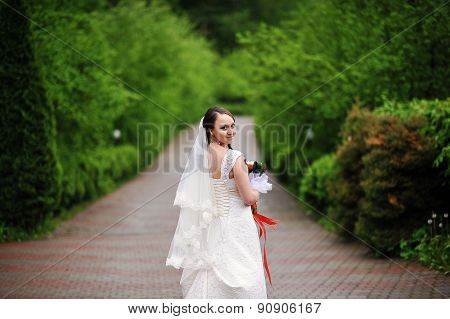 Bride Walking At The Green Alley
