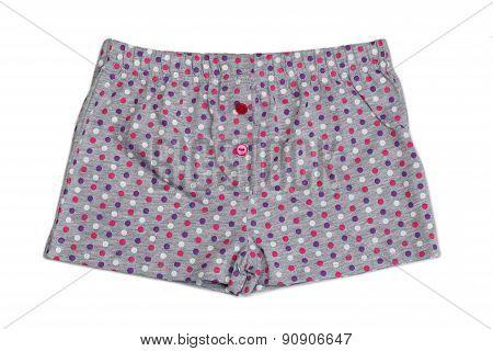 Gray Shorts With Polka Dots