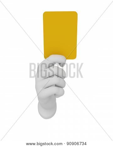 3D White Human Open Hand Holds A Yellow Card. White Background.