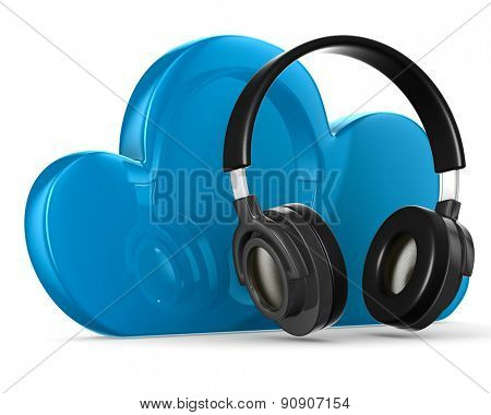 Cloud and headphone on white background. Isolated 3D image
