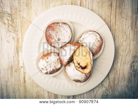Vintage Photo Of Donuts On A Plate