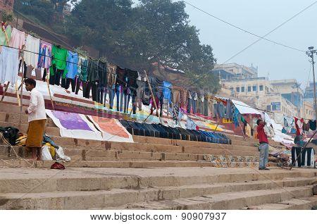 Laundry Drying Near Ganga River In Ghat. Varanasi