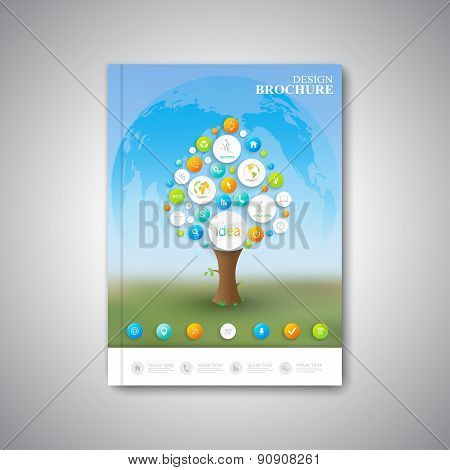 Modern abstract template layout  brochure, magazine, flyer, booklet, cover or report in A4 size for