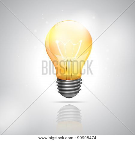 Realistic Light Bulb On The White Background