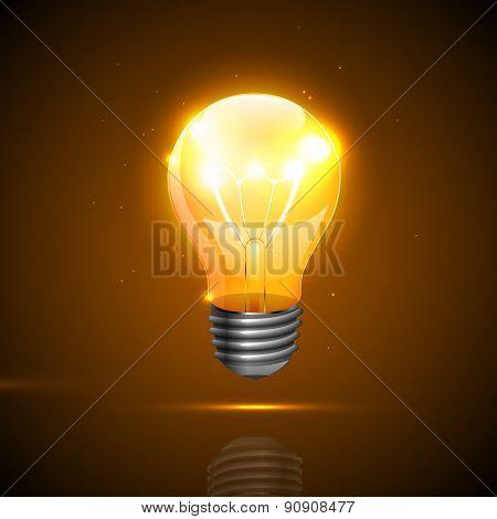 Realistic Light Bulb On The Dark Background