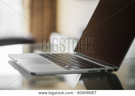 Modern Laptop At Sunset, Shallow Depth Of Field