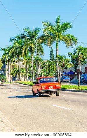 Classic American red car, Havana in Cuba