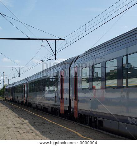 Passenger train on a station platform