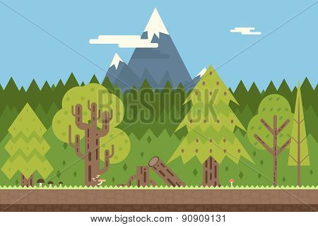Seamless Wood and Mountain Nature Concept Flat Design Landscape Background Template Vector Illustrat