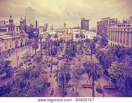 Vintage Stylized Photo Of Santiago De Chile.