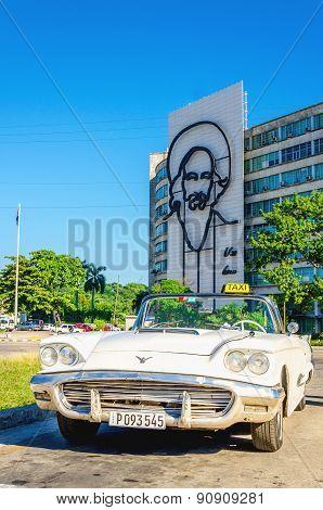American classic white cabriolet in Havana, Cuba