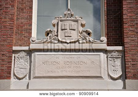 Lintel of Harvard University, Cambridge, USA