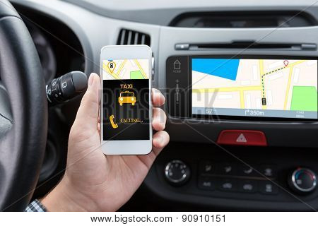 Man Connecting Phone With App Taxi And Navigation Map
