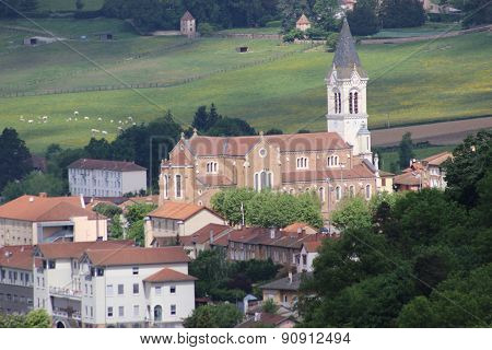 French Church In Bourg-de-thizy In France
