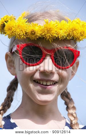 Smiling Girl In Sunglasses And Dandelion Garland