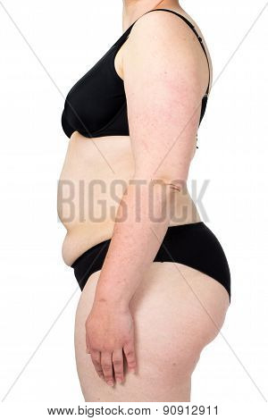 Woman showing her fat body