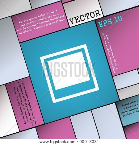 Photo Frame Template  Icon Sign. Modern Flat Style For Your Design. Vector