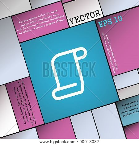 Paper Scroll  Icon Sign. Modern Flat Style For Your Design. Vector