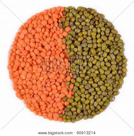 Green Mung Beans And Red Raw Lentil On A White