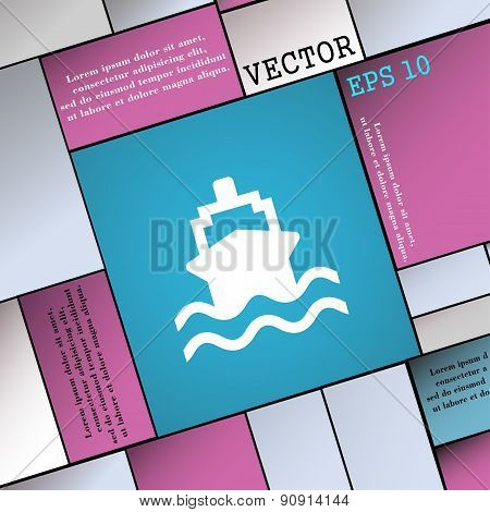 Ship  Icon Sign. Modern Flat Style For Your Design. Vector
