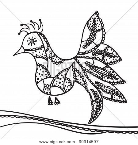 Hand Drawing Zentangle Element. Decorative, Abstract Bird