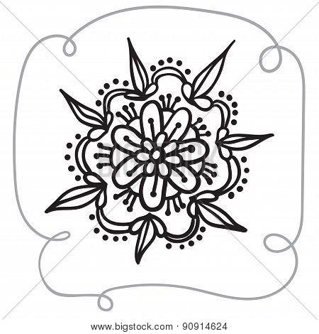 Hand Drawing Zentangle Element With Decorative Frame.  Flower Mandala