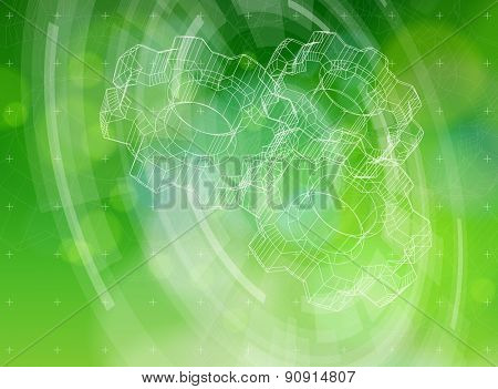 Ecology technology concept - gears, radial HUD elements & green bokeh abstract light background