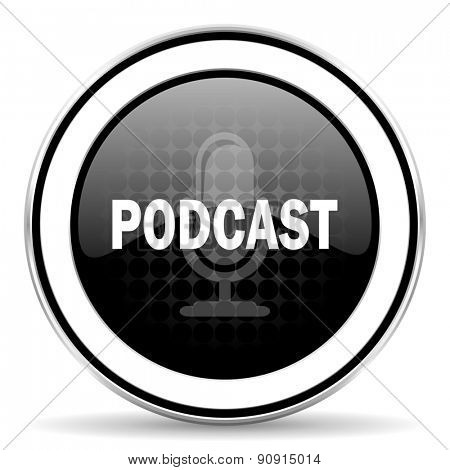 podcast icon, black chrome button