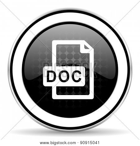 doc file icon, black chrome button