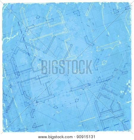 architecture blueprint - house plan & blue old paper background
