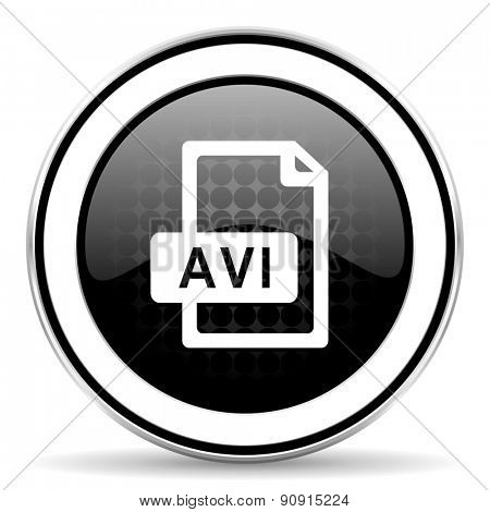 avi file icon, black chrome button