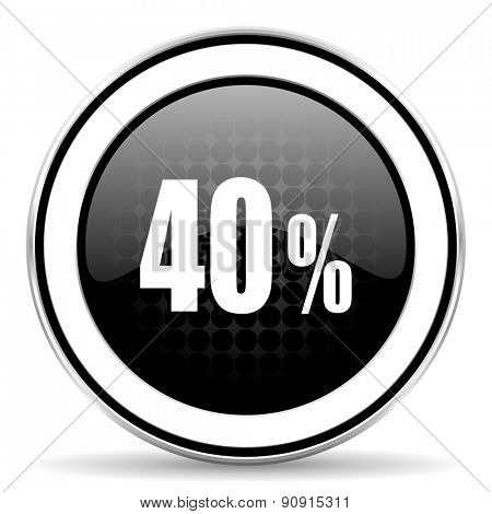 40 percent icon, black chrome button, sale sign