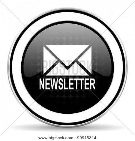 newsletter icon, black chrome button
