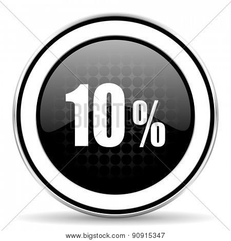 10 percent icon, black chrome button, sale sign