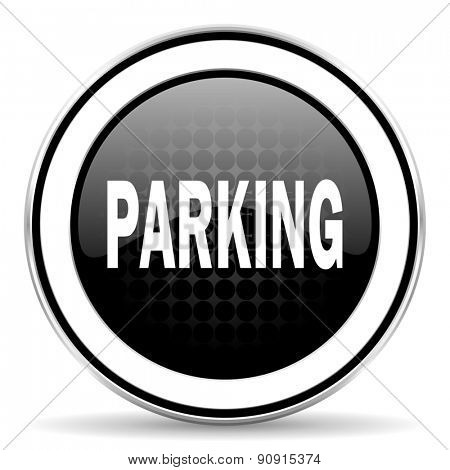 parking icon, black chrome button