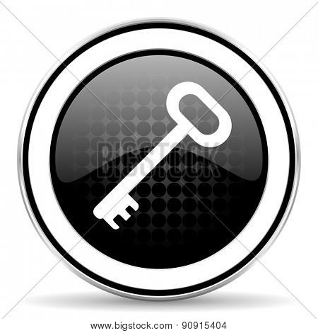 key icon, black chrome button, secure symbol