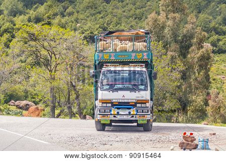 TADDERT, MOROCCO, APRIL 15, 2015: Lorry transports sheep and cows in region of Tizi n'Tichka mountain pass