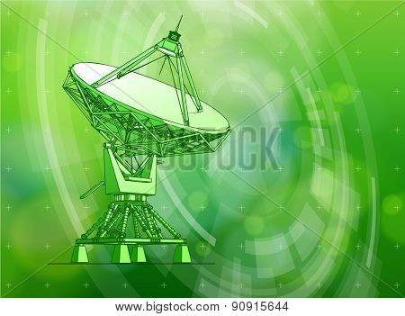 Ecology technology concept - large astronomical Doppler radar, radial HUD elements & green bokeh abstract light background