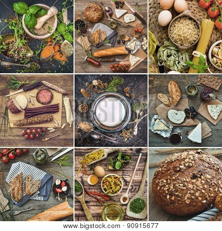 Photo collage of food and spices on a wooden table