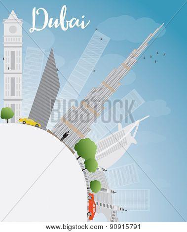 Dubai City skyline with grey skyscrapers, blue sky and copy space