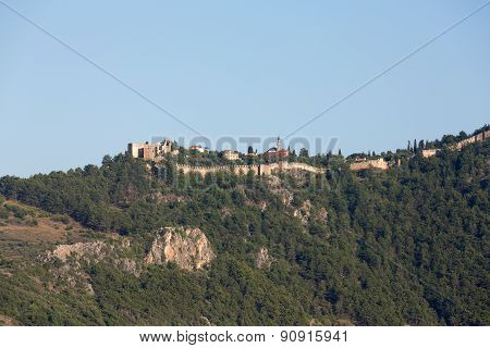 The castle in Alanya built on the hill above the beach of Cleopatra. Turkey