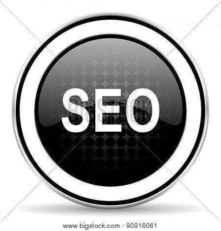 seo icon, black chrome button
