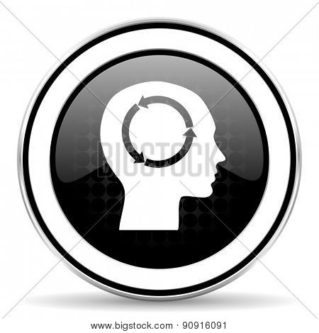 head icon, black chrome button, human head sign