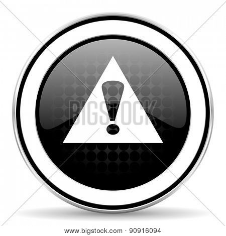 exclamation sign icon, black chrome button, warning sign, alert symbol