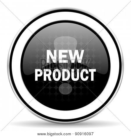 new product icon, black chrome button