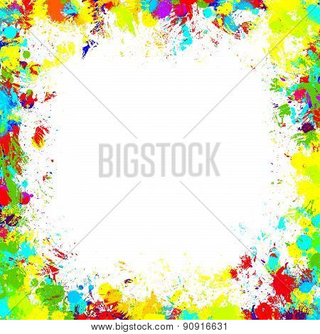 Frame With Color Blobs, Isolated On White Background