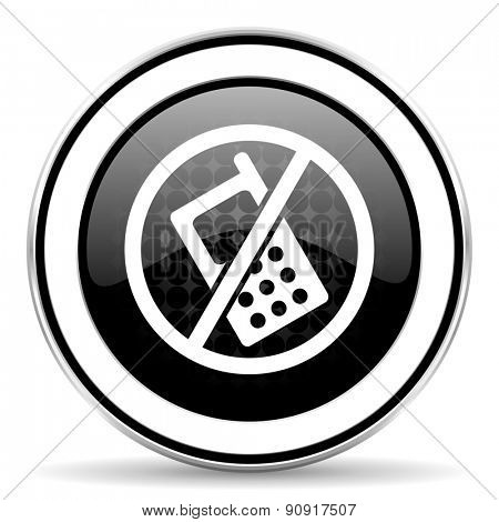 no phone icon, black chrome button, no calls sign