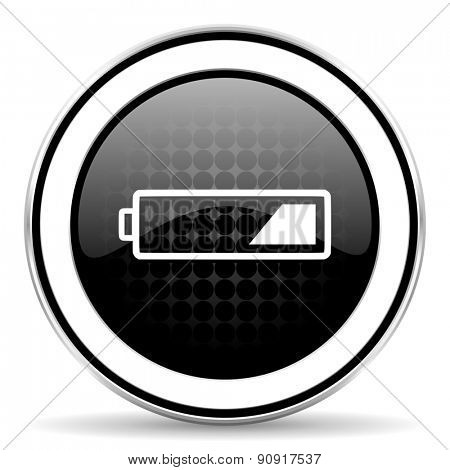 battery icon, black chrome button, charging symbol, power sign