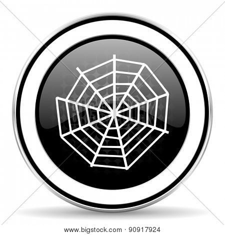 spider web icon, black chrome button